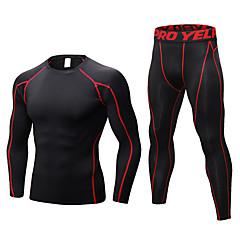 ราคาถูก -สำหรับผู้ชาย activewear ชุด ชุดบีบอัด วิ่งออกกำลังกาย กีฬา แห้งเร็ว ออกแบบตามสรีระ ระบายอากาศได้ การบีบอัดสูท ชุดออกกำลังกาย แขนยาว กางเกงยาว ชุดทำงาน ยืด