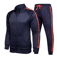 ราคาถูก -สำหรับผู้ชาย 2pcs ด้านข้างลาย streetwear Tracksuit sweatsuit ฤดูหนาว ซิปรูดด้านหน้า Mandarin Collar วิ่ง Racing การออกกำลังกาย กีฬา รักษาให้อุ่น กันลม นุ่ม เสื้อยืดและกางเกง แขนยาว ชุดทำงาน
