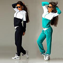 ราคาถูก -สำหรับผู้หญิง 2pcs ลายต่อ ซิป Tracksuit sweatsuit ฤดูหนาว วิ่ง การออกกำลังกาย วิ่งออกกำลังกาย กีฬา น้ำเงินรอยัล สีเขียวมรกต ขนาดพิเศษ รักษาให้อุ่น ระบายอากาศ Moisture Wicking ชุดออกกำลังกาย แขนยาว