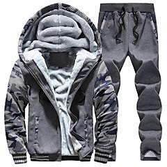 ราคาถูก -สำหรับผู้ชาย 2pcs ปัก ผ้าขนแกะ Tracksuit sweatsuit ฤดูหนาว ซิปรูดด้านหน้า ฮู้ด วิ่ง การออกกำลังกาย กีฬา ขนาดพิเศษ รักษาให้อุ่น กันลม นุ่ม กางเกงพร้อมแจ็กเก็ตมีฮูด แขนยาว ชุดทำงาน ผสมยางยืดไมโคร ปกติ