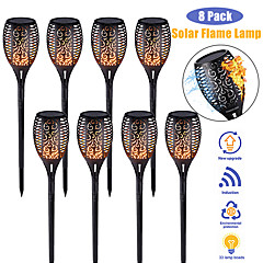 cheap -1-8pcs 33LED Solar Light Control Solar Flame Light Dance Flame Outdoor IP65 Waterproof Garden Torch Lamp Flickering Flame Path for Courtyard Garden Balcony