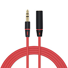 cheap -3.5mm Jack To Jack Male To Female Audio Cable Extension Cord AUX Audio Cable For Headphones Headset Microphone ETC 1.2m