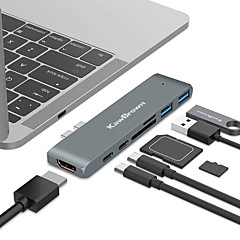 Χαμηλού Κόστους -kawbrown 7 in 1usb hub docking usb 3.0 pd quick charge thunderbolt 3 sd tf reader 4k hd HDMI adapter για macbook