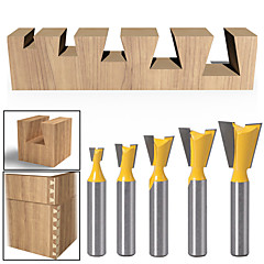 cheap -5pcs/set 8MM Shank Dovetail Router Bit Cutter Wood Working High Quality Industry Standard Router Bits For Woodworking HT73