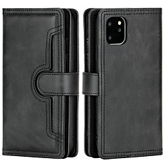 cheap -Case For iPhone 6 7 8 6plus 7plus 8plus XR XS XSMAX X SE  11 11Pro 11ProMax Wallet Card Holder Flip Full Body Case Solid Colored PU Leather