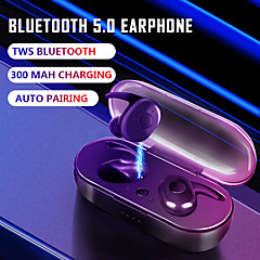 tanie -b1 tws prawdziwe bezprzewodowe słuchawki douszne automatyczne parowanie słuchawki bluetooth 5.0 ze skrzynką ładującą 300 mah sportowe douszne słuchawki stereo mini ipx7 wodoodporne słuchawki