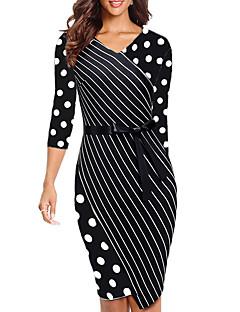 رخيصةأون -فستان نسائي ثوب ضيق طول الركبة مخطط