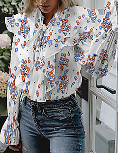 cheap -Women's Daily Shirt - Floral / Romantic V Neck White / Spring / Summer