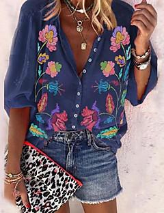 رخيصةأون -قميص نسائي مقاس أوروبي / أمريكي يومي - ياقة قميص بأزهار أزرق