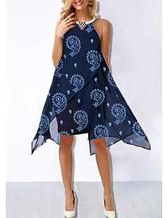 رخيصةأون -فستان نسائي فضفاض غير متماثل طباعة