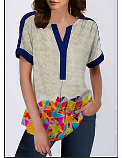 cheap -Women's Daily Casual / Daily Blouse - Color Block / Splicing / Printing V Neck Beige / Summer