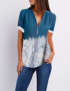 cheap -Women's Daily Casual Blouse - Color Block V Neck Blue / Summer
