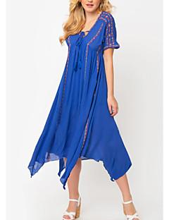 رخيصةأون -فستان نسائي فضفاض غير متماثل لون الصلبة