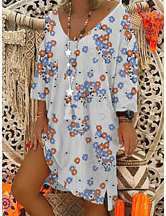 cheap -Women's White Dress Leisure Spring Loose Floral V Neck M L Loose