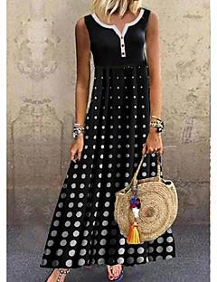 cheap -Women's A-Line Dress Maxi long Dress - Sleeveless Polka Dot Summer Casual Daily 2020 Black M L XL XXL XXXL