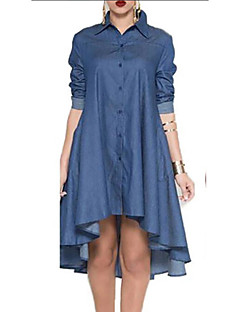 cheap -Women's Denim Shirt Dress Knee Length Dress - Half Sleeve Solid Color Summer Shirt Collar Casual Daily 2020 Blue M L XL XXL XXXL