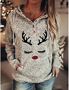cheap -Women's Christmas Pullover Hoodie Sweatshirt Animal Casual Christmas Hoodies Sweatshirts  Gray
