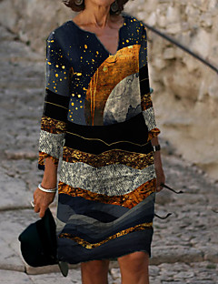 cheap -Women's Sheath Dress Knee Length Dress - 3/4 Length Sleeve Color Block Print Fall Casual 2020 Gray M L XL XXL 3XL