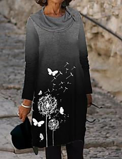 cheap -Women's Shift Dress Knee Length Dress - Long Sleeve Animal Print Fall Casual 2020 Black M L XL XXL 3XL