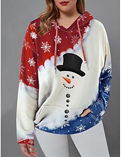cheap -Women's Plus Size Christmas Pullover Hoodie Sweatshirt Graphic Casual Christmas Hoodies Sweatshirts  Red