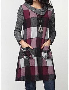 cheap -Women's Shift Dress Short Mini Dress - Long Sleeve Plaid Pocket Print Spring Fall Casual 2020 Gray M L XL XXL 3XL