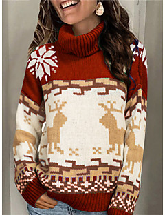 cheap -Women's Christmas Knitted Geometric Animal Pullover Long Sleeve Sweater Cardigans Turtleneck Fall Winter Red Green