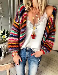 cheap -Women's Knitted Rainbow Cardigan Long Sleeve Sweater Cardigans V Neck Fall Winter Rainbow