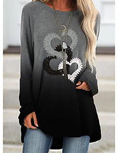 cheap -Women's Tunic Heart Long Sleeve Patchwork Print Round Neck Tops Basic Basic Top Black