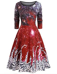 cheap -Women's A-Line Dress Knee Length Dress - Long Sleeve Print Print Fall Elegant Vintage 2020 Red M L XL XXL 3XL