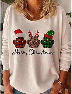 cheap -Women's Blouse Shirt Letter Long Sleeve Print Round Neck Tops Christmas Basic Top White