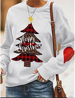 cheap -Women's Christmas Pullover Sweatshirt Geometric Letter Casual Christmas Hoodies Sweatshirts  Gray