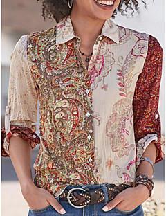 cheap -Women's Shirt Leaf Graphic Prints Long Sleeve Button Print Shirt Collar Tops Basic Top Khaki