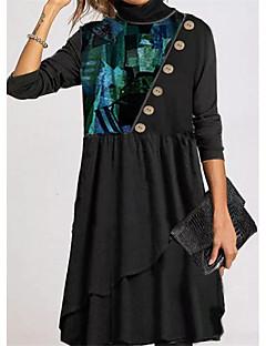 cheap -Women's Shift Dress Knee Length Dress - Long Sleeve Print Button Print Spring Fall Casual 2020 Black M L XL XXL 3XL