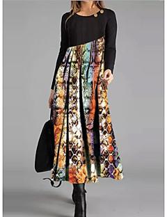 cheap -Women's Shift Dress Midi Dress - Long Sleeve Print Button Print Spring Fall Casual 2020 Black M L XL XXL 3XL