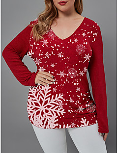 cheap -Women's Christmas Knitted Geometric Pullover Long Sleeve Sweater Cardigans V Neck Fall Winter Red