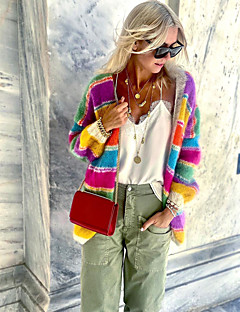 cheap -Women's Fur Trim Knitted Color Block Cardigan Long Sleeve Sweater Cardigans V Neck Fall Winter Rainbow