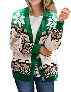 cheap -Women's Christmas Knitted Geometric Animal Cardigan Long Sleeve Sweater Cardigans V Neck Fall Winter Green