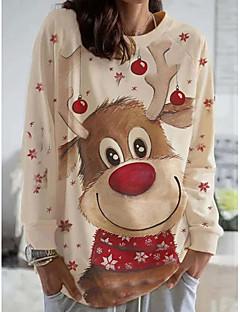 cheap -Women's Christmas Pullover Sweatshirt Animal Casual Christmas Hoodies Sweatshirts  Beige