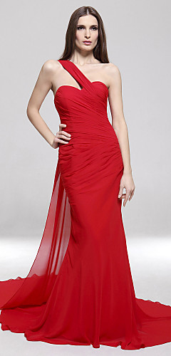 cheap -Mermaid / Trumpet Celebrity Style Open Back Formal Evening Military Ball Dress One Shoulder Sleeveless Sweep / Brush Train Chiffon with Side Draping 2020