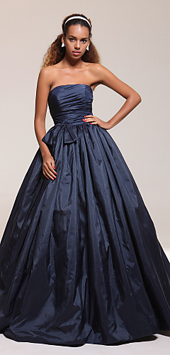 cheap -Ball Gown Quinceanera Prom Formal Evening Dress Strapless Sleeveless Floor Length Taffeta with Bow(s) Pleats Ruched 2020