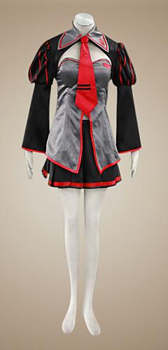 abordables -Inspiré par Vocaloid Zatsune Miku Vidéo Jeu Costumes de Cosplay Costumes Cosplay / Robes Mosaïque Manches Longues Manteau Jupe Casque Les costumes / Résille / Satin