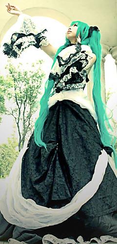 abordables -Inspiré par Vocaloid Hatsune Miku Vidéo Jeu Costumes de Cosplay Costumes Cosplay / Robes Mosaïque Manches Longues Robe Collier Accessoires de taille Les costumes / Dentelle / Satin