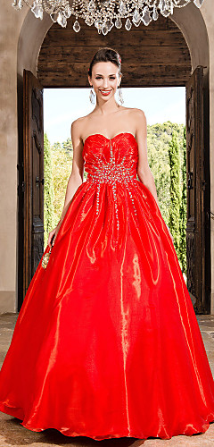 cheap -Ball Gown Vintage Inspired Quinceanera Prom Formal Evening Dress Strapless Sweetheart Neckline Sleeveless Floor Length Organza with Crystals Beading Draping 2020