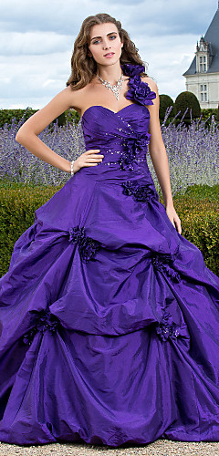 cheap -Ball Gown Elegant Floral Quinceanera Formal Evening Dress One Shoulder Sleeveless Court Train Taffeta with Pick Up Skirt Appliques 2020