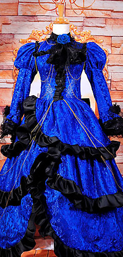 abordables -Inspiré par Vocaloid Kagamine Len Vidéo Jeu Costumes de Cosplay Costumes Cosplay / Robes Mosaïque Manches Longues Robe Les costumes / Satin