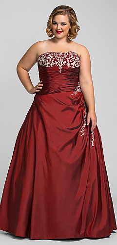 cheap -Ball Gown Plus Size Red Prom Formal Evening Dress Strapless Sleeveless Floor Length Taffeta with Beading Appliques 2020