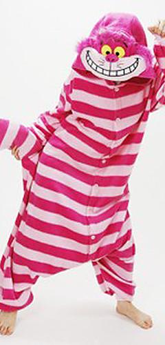 رخيصةأون -للبالغين بيجاما كيجورومي Chesire القط بيجاما ونزي المرجان صوف أحمر تأثيري إلى الرجال والنساء ملابس للنوم الحيوانات رسوم متحركة عطلة / عيد ازياء /  / قمصان الرضعثوب الراقص / مخطط