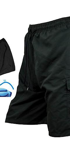رخيصةأون -SANTIC رجالي شورتات محشية للدراجة - أسود لون الصلبة الدراجة السراويل الفضفاضة شورت MTB قيعان, متنفس 3D وسادة سريع جاف / تقنيات خياطة متقدمة