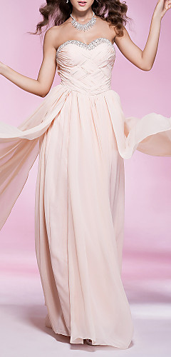 cheap -Sheath / Column Elegant Prom Formal Evening Military Ball Dress Strapless Sweetheart Neckline Sleeveless Floor Length Chiffon with Criss Cross Pleats Beading 2020