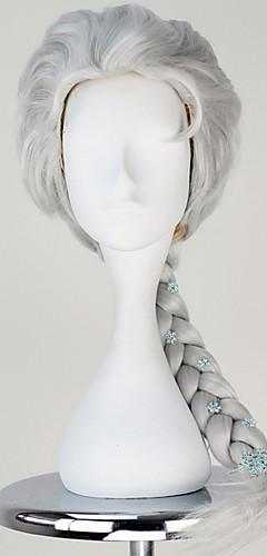 baratos -Princesa Conto de Fadas Elsa Perucas de Cosplay Mulheres Trança 60CM Fibra Resistente ao Calor Loira de prata Prata Bege Dourado Anime